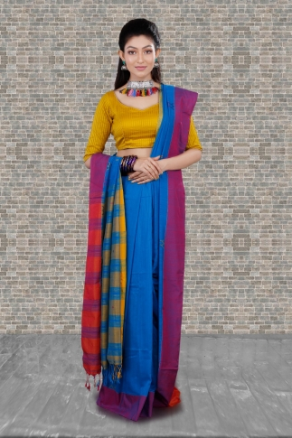 Blue With Yellow and Red Border Hand Woven Pure Cotton Saree Fabricated on Pure Cotton
