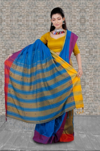 Blue With Yellow and Red Border Hand Woven Pure Cotton Saree Fabricated on Pure Cotton 1