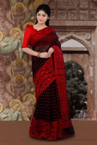 Black & Red Bengal Hand Woven Jamdani Saree