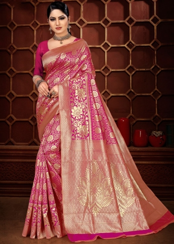 Pink Colour Banarasi Silk Wedding & Traditional Saree