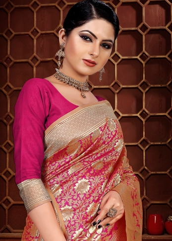Pink Colour Banarasi Silk Wedding & Traditional Saree 1