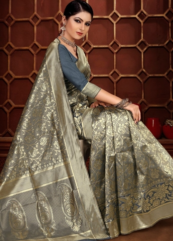 Grey Colour Banarasi Silk Wedding & Traditional Saree 1