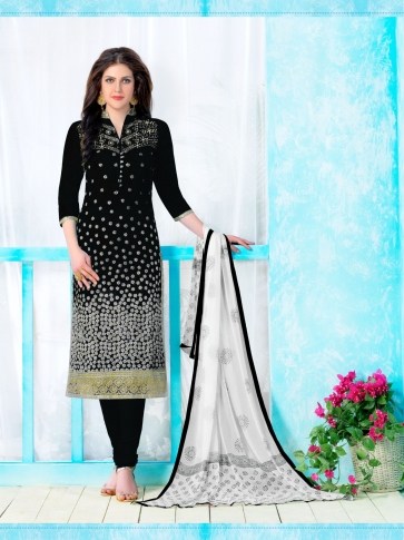 Heavy Cambric Cotton With Embroidery Work Black and White Salwar Kameez