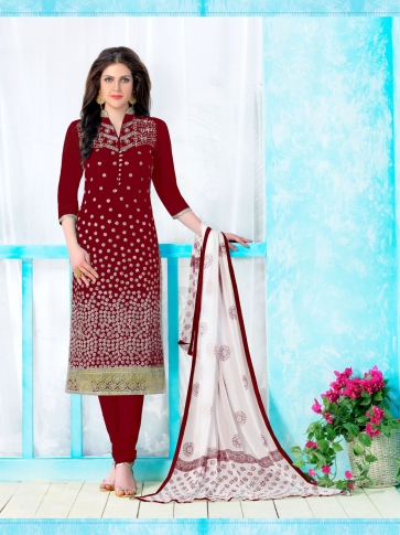 Heavy Cambric Cotton With Embroidery Work Maroon and White Salwar Kameez