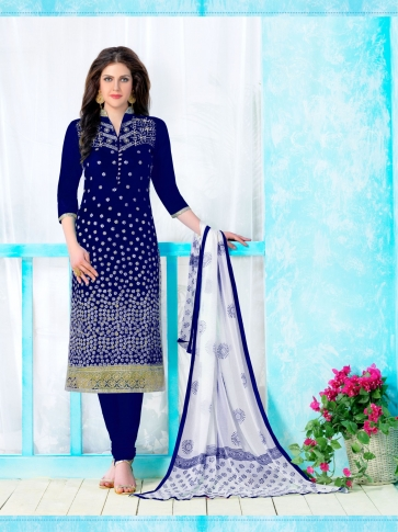 Heavy Cambric Cotton With Embroidery Work Nevy Blue and White Salwar Kameez