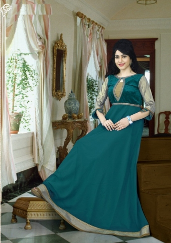 Pine Green Colored Gown Fabricated On Georgette