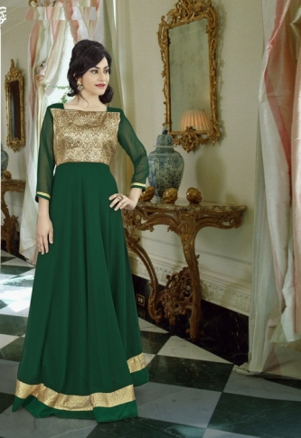 Bottle Green Colored Gown Fabricated On Georgette