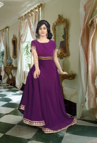 Purple Colored Gown Fabricated On Georgette