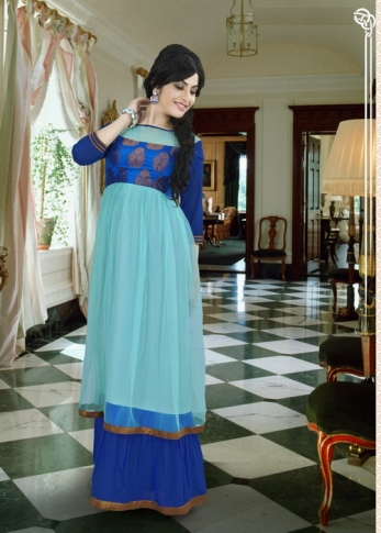Aqua Blue & Royal Blue Colored Gown Fabricated On Georgette