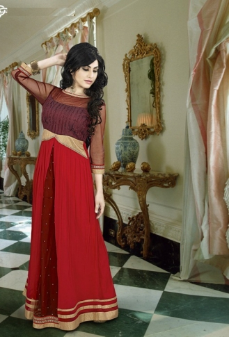 Brown & Red Colored Gown Fabricated On Georgette