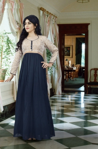 Dark Grey & Beige Colored Gown Fabricated On Georgette