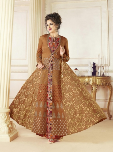Light Brown Cotton Blended Designer Readymade Gown