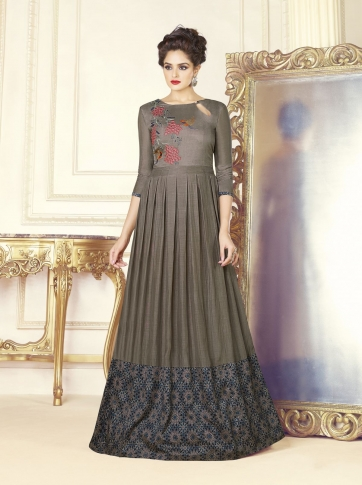 Grey Cotton Blended Designer Readymade Gown
