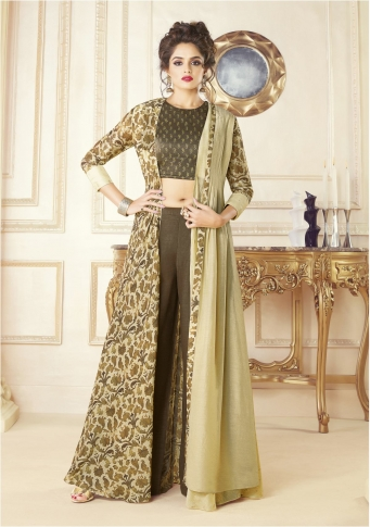 Brown & Cream Cotton Blended Designer Readymade Gown