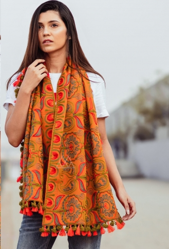Scarf For This Winter Which Can Be Paired With Western Or Even Kurtas on Orange Colour 0