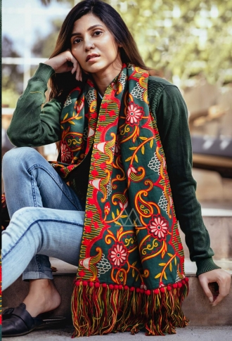 Scarf For This Winter Which Can Be Paired With Western Or Even Kurtas on Pine Green Colour 0