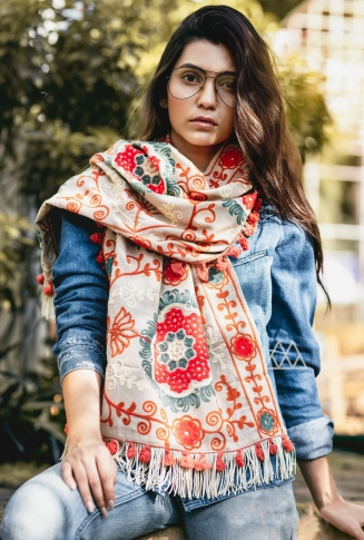 Scarf For This Winter Which Can Be Paired With Western Or Even Kurtas on White Colour