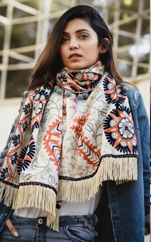 Scarf For This Winter Which Can Be Paired With Western Or Even Kurtas on Off-White Colour