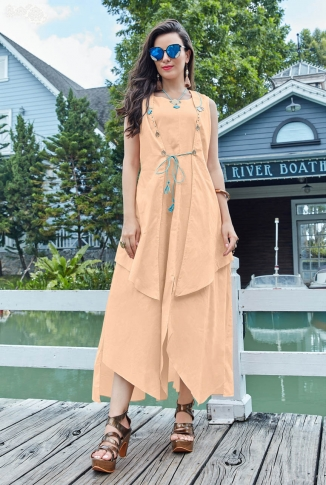 Designer Readymade Kurti Is Here With Different Cuts In Lovely Peach Color