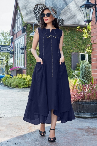 Designer Readymade Kurti Is Here With Different Cuts In Lovely Navy Blue Color