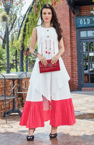 Designer Readymade Kurti Is Here With Different Cuts In Lovely White & Pink 0