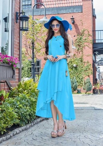 Designer Readymade Kurti Is Here With Different Cuts In Lovely Turquoise Blue
