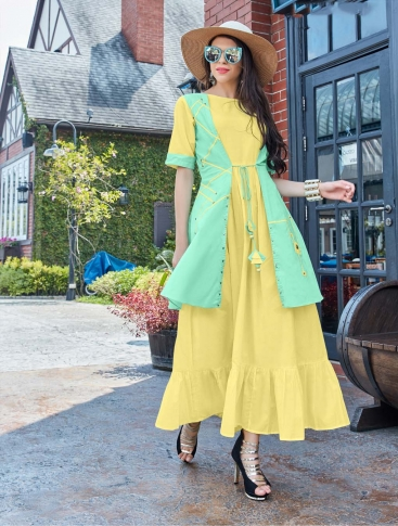 Designer Readymade Kurti Is Here With Different Cuts In Lovely Yellow & Sea Green 0