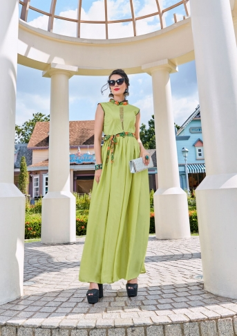 Light Green Designer Readymade Gown Is Fabricated On Crepe Silk