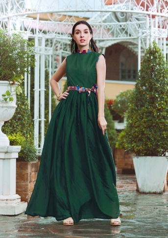Dark Green Designer Readymade Gown Is Fabricated On Crepe Silk