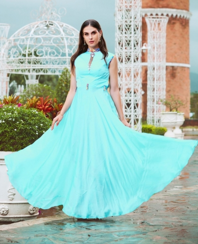Aqua Blue Designer Readymade Gown Is Fabricated On Crepe Silk