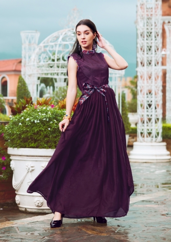 Purple Designer Readymade Gown Is Fabricated On Crepe Silk