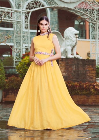 Yellow Designer Readymade Gown Is Fabricated On Crepe Silk