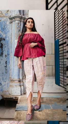 Dark Pink & Cream Top And Bottom Are Fabricated On Khadi Beautified With Prints Western Pair