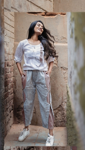 White & Grey Top And Bottom Are Fabricated On Khadi Beautified With Prints Western Pair