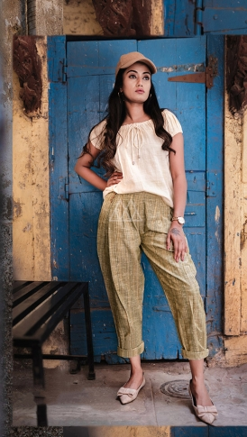 Cream & Olive Green Top And Bottom Are Fabricated On Khadi Beautified With Prints Western Pair