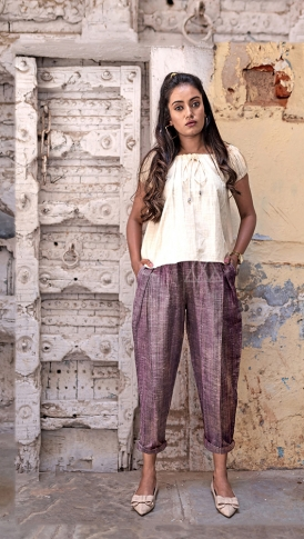 Cream & Purple Top And Bottom Are Fabricated On Khadi Beautified With Prints Western Pair