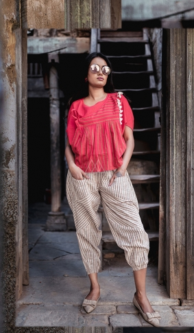 Red & Cream Top And Bottom Are Fabricated On Khadi Beautified With Prints Western Pair
