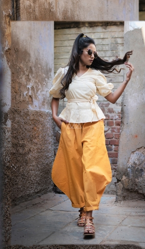 Cream & Yellow Top And Bottom Are Fabricated On Khadi Beautified With Prints Western Pair