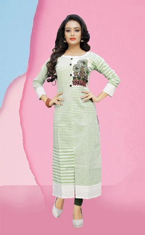 Pretty Striped Kurti In Light Green Color 0