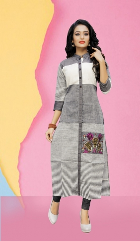 Pretty Striped Kurti In Grey Color