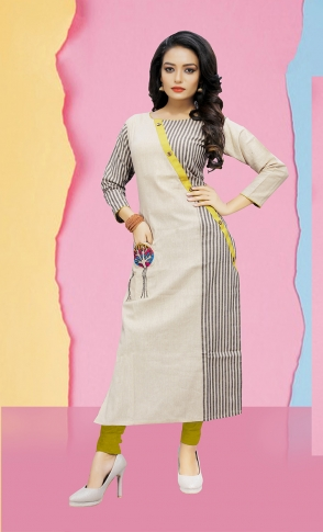 Pretty Striped Kurti In Off-White & Grey 0