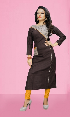 Pretty Striped Kurti In Off-Dark Brown