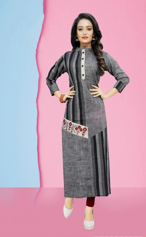 Pretty Striped Kurti In Dark Grey 0