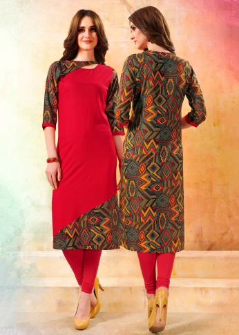 Readymade Kurti Is Here In Red And Multi Color Fabricated On Rayon
