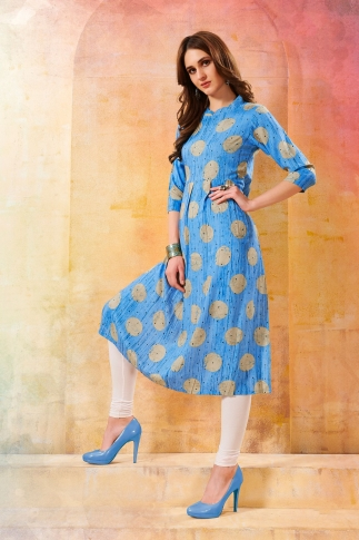 Printed Readymade Kurti In Sky Blue Color Fabricated On Rayon
