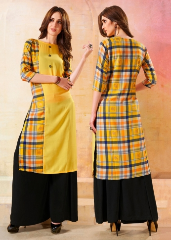 Printed Readymade Kurti In Yellow Color Fabricated On Rayon