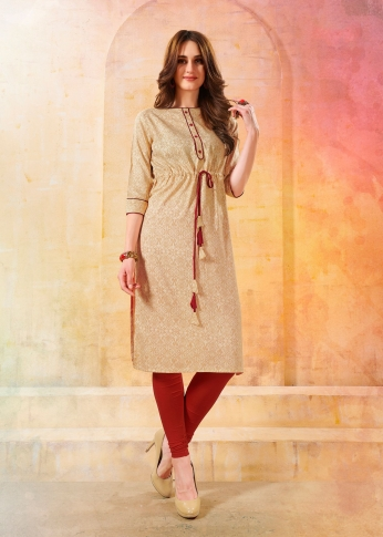 Printed Readymade Kurti In Beige Color Fabricated On Rayon