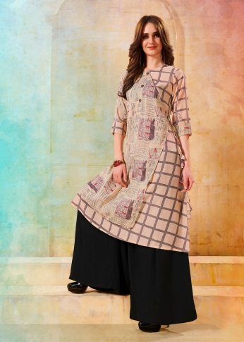 Printed Readymade Kurti In Pastel Pink Color Fabricated On Rayon