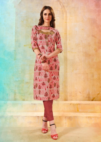 Printed Ready made Kurti In Multi Color Fabricated On Rayon