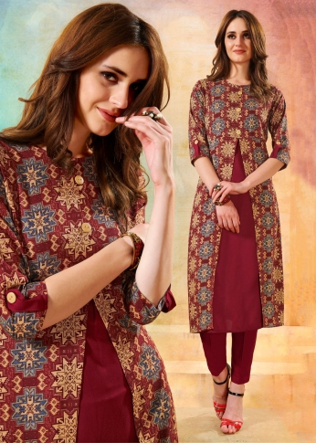 Printed Readymade Kurti In Maroon Color Fabricated On Rayon